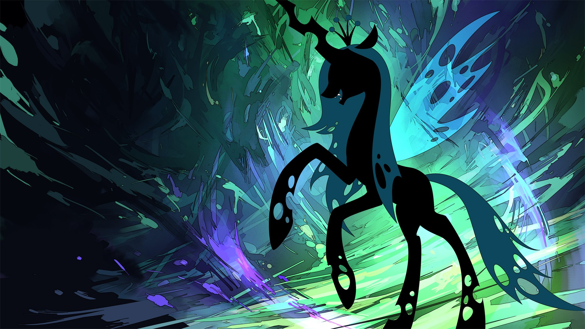 My Little Pony ponies Changeling Queen Chrysalis Silhoutte 1920x1080