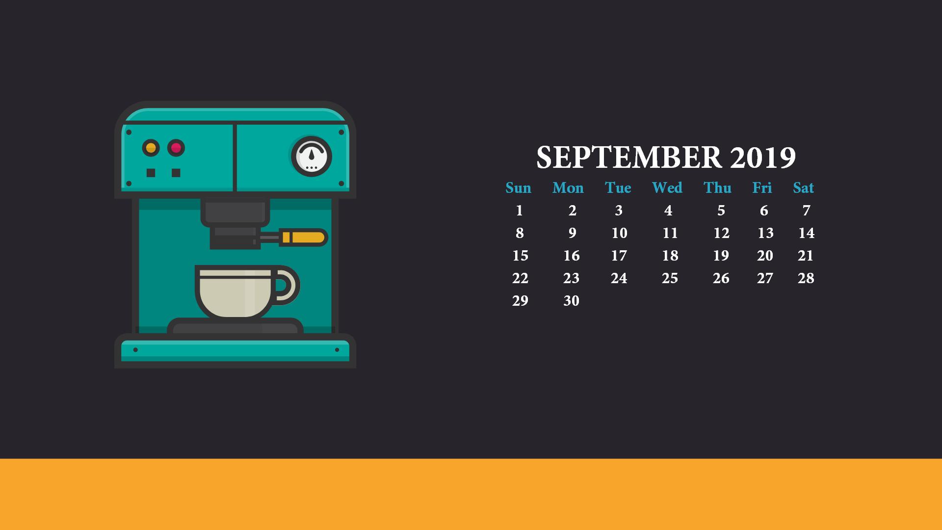 September 2019 Calendar Desktop Wallpaper 1920x1080