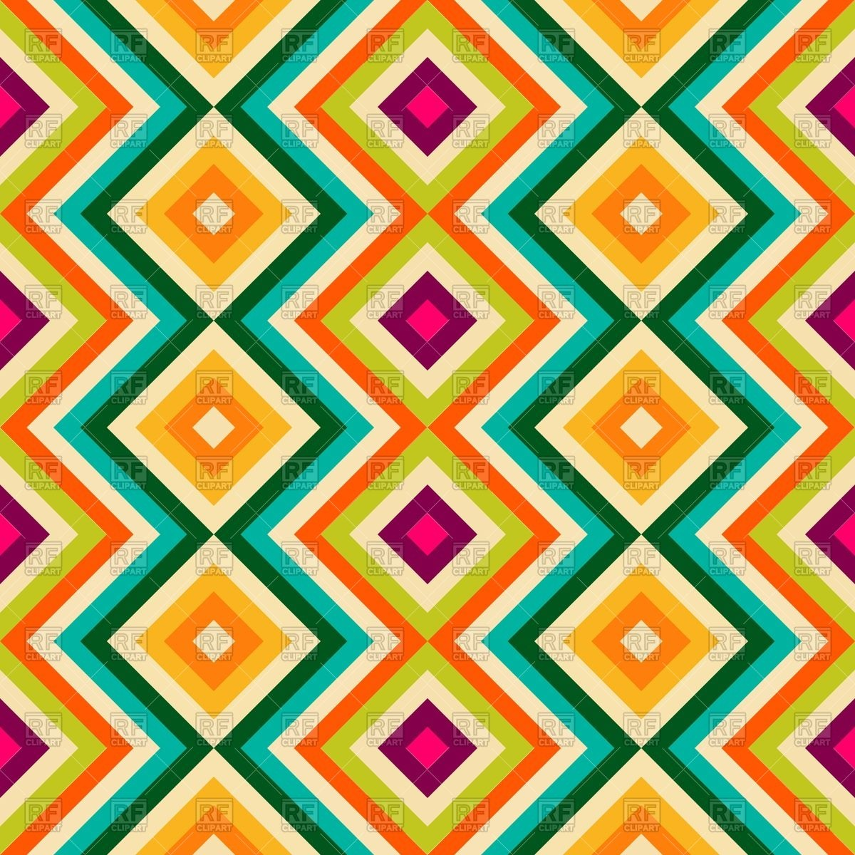 Seamless wallpaper with zig zag and rhombus Vector Image of 1200x1200