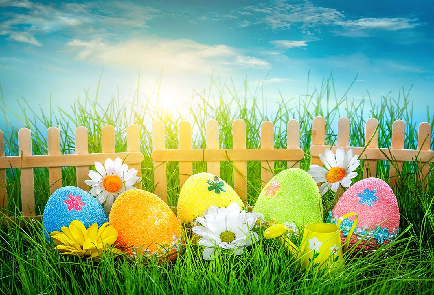 Amazoncom 7x5ft Easter Photography Backdrops Colorful Eggs 1500x1023