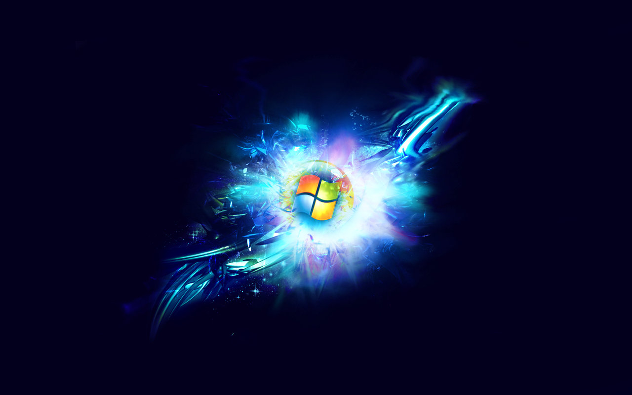 windows7 hdblackwallpapers abstrackblackbluejpg 1280x800