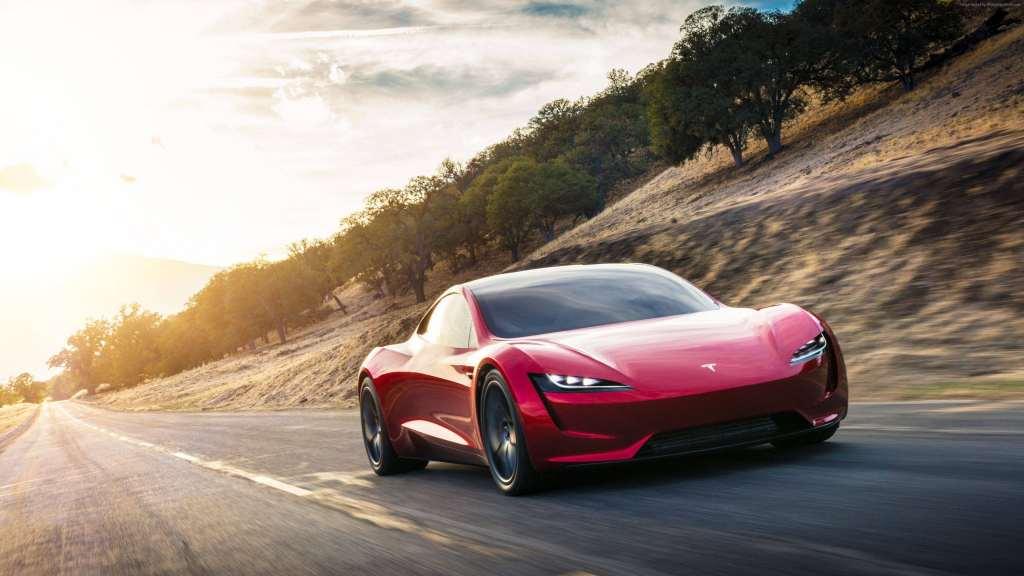 Tesla Roadster Electric Car Wallpaper 1024x576