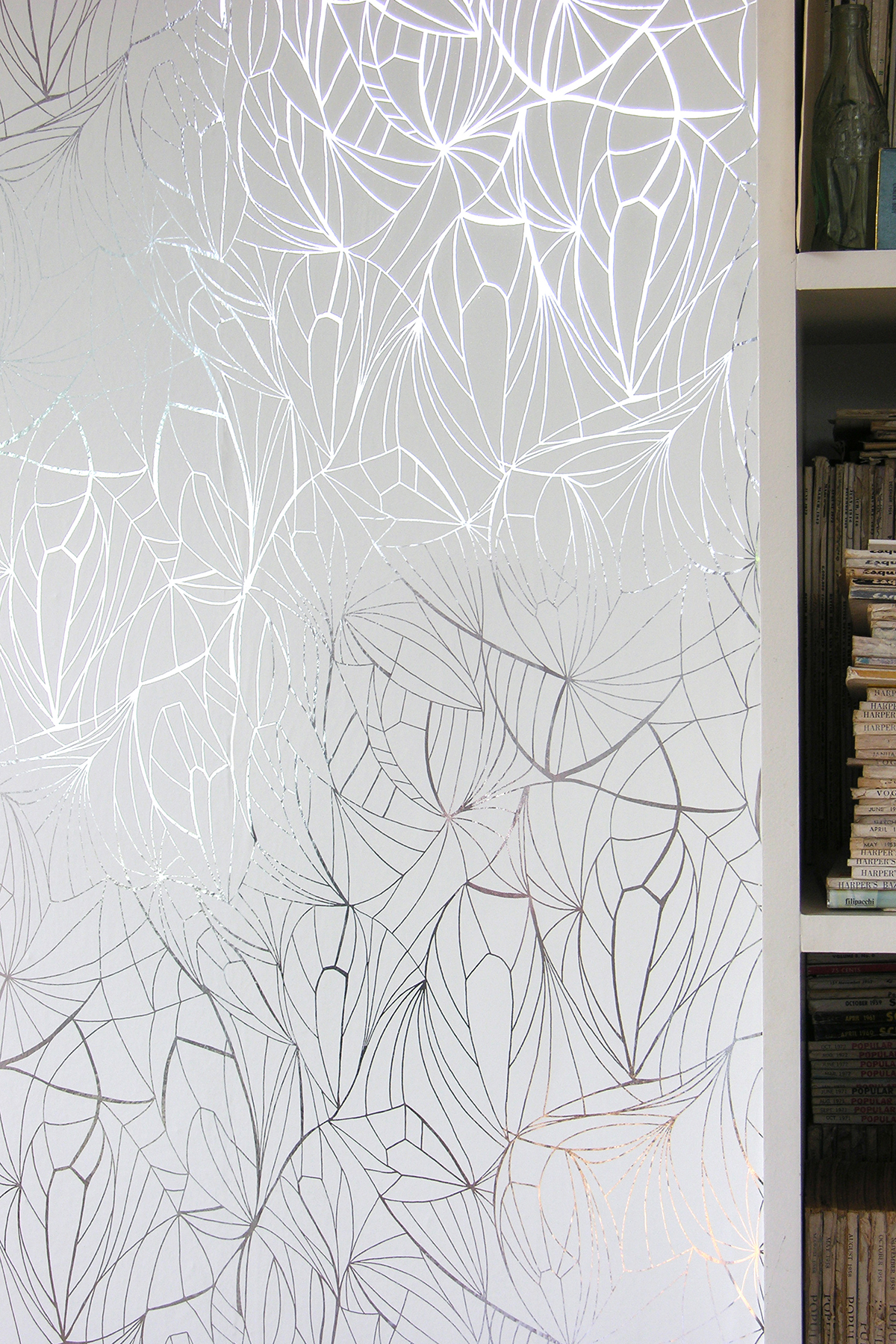 Leaf Wallpaper   Silver and White Monument Interiors 1200x1800