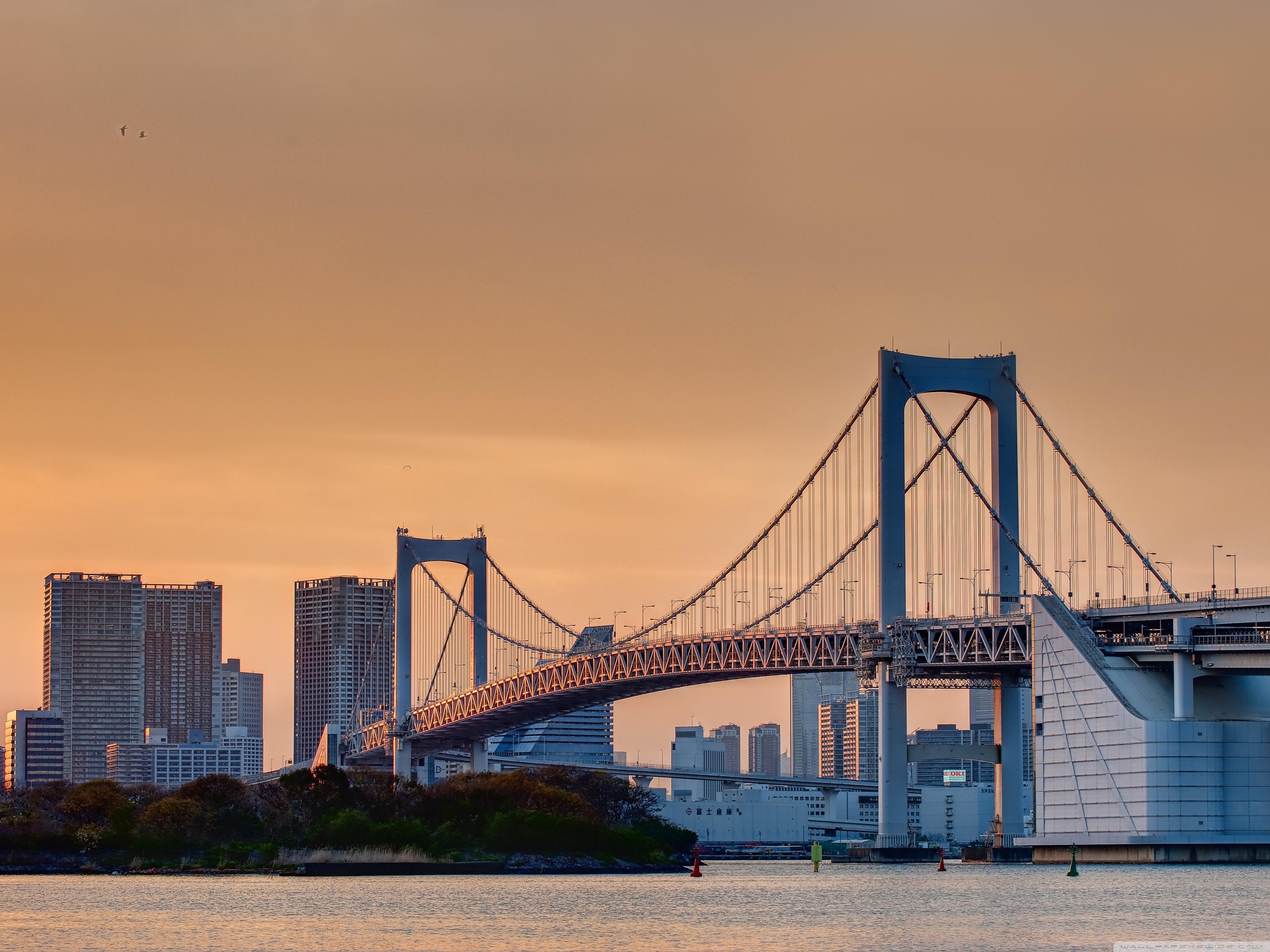 Odaiba Rainbow Bridge 4K HD Desktop Wallpaper for 4K Ultra HD 3200x2400