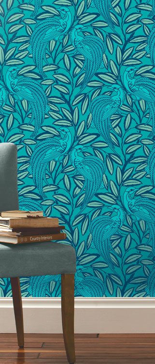 Tailfeather Peacock Blue Designer Wallpaper 321x750