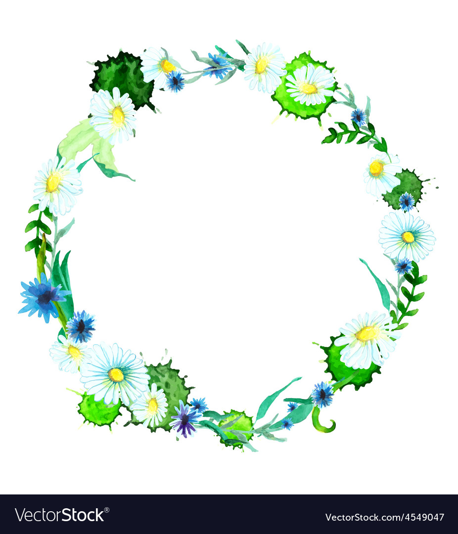 Watercolor flower wreath background Royalty Vector 926x1080