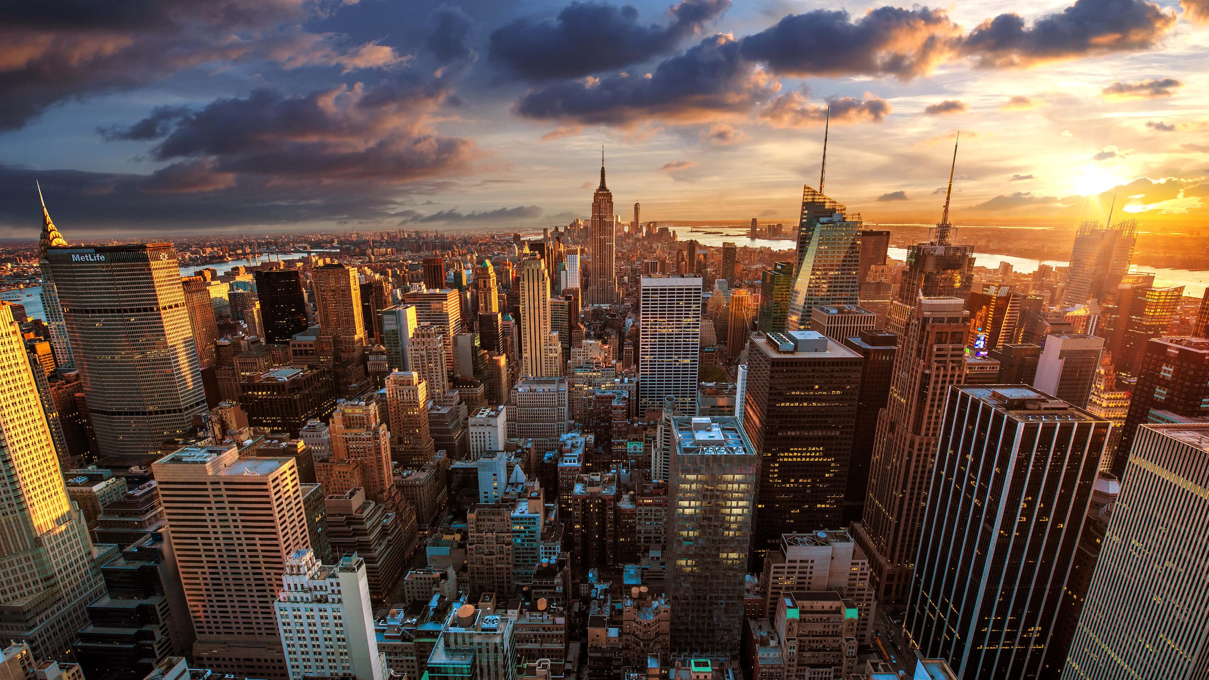 New York Cityscape Sunset UHD 4K Wallpaper Pixelz 3840x2160