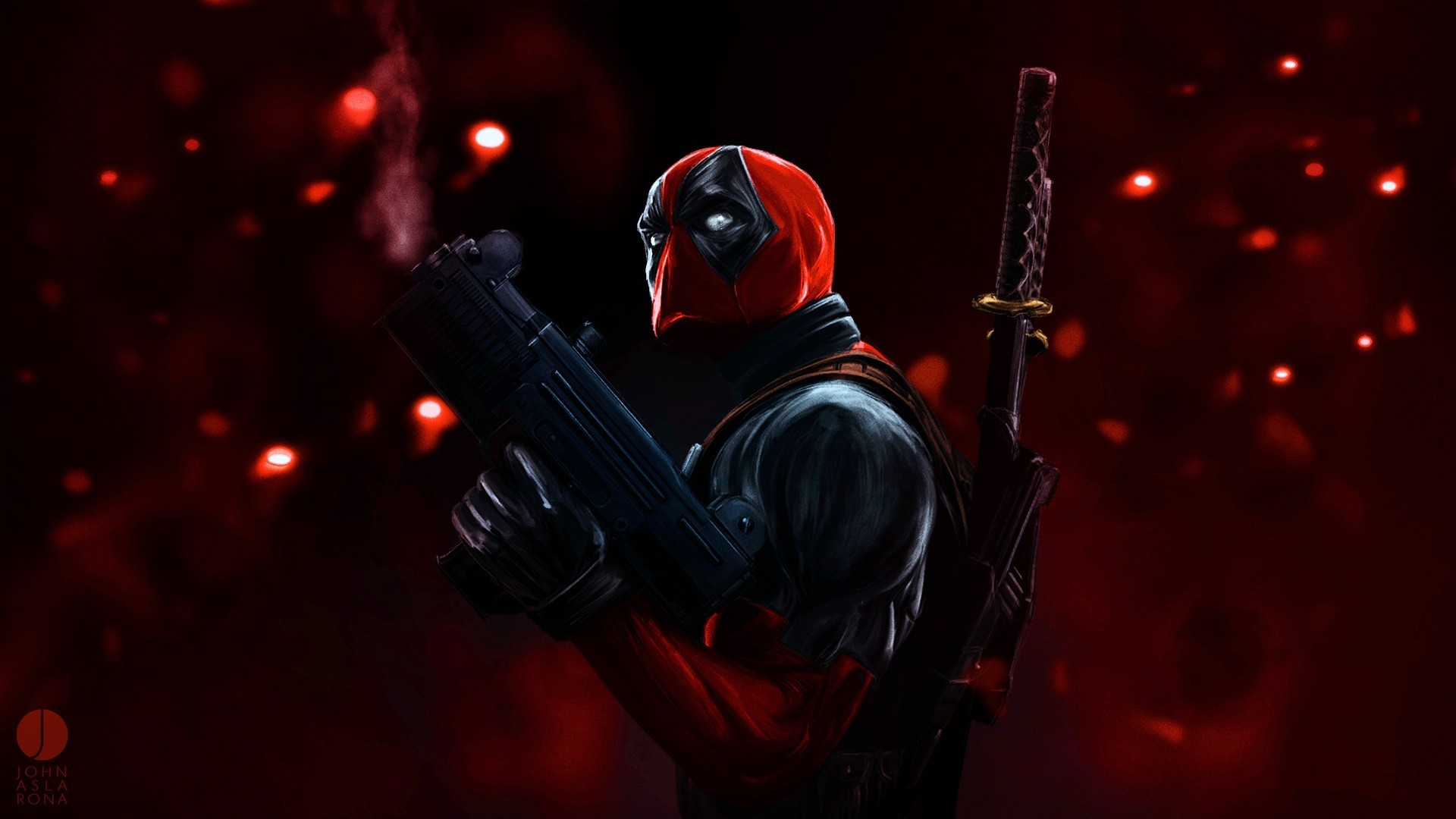 Full HD Wallpaper deadpool katana hero mask gun Desktop 1920x1080