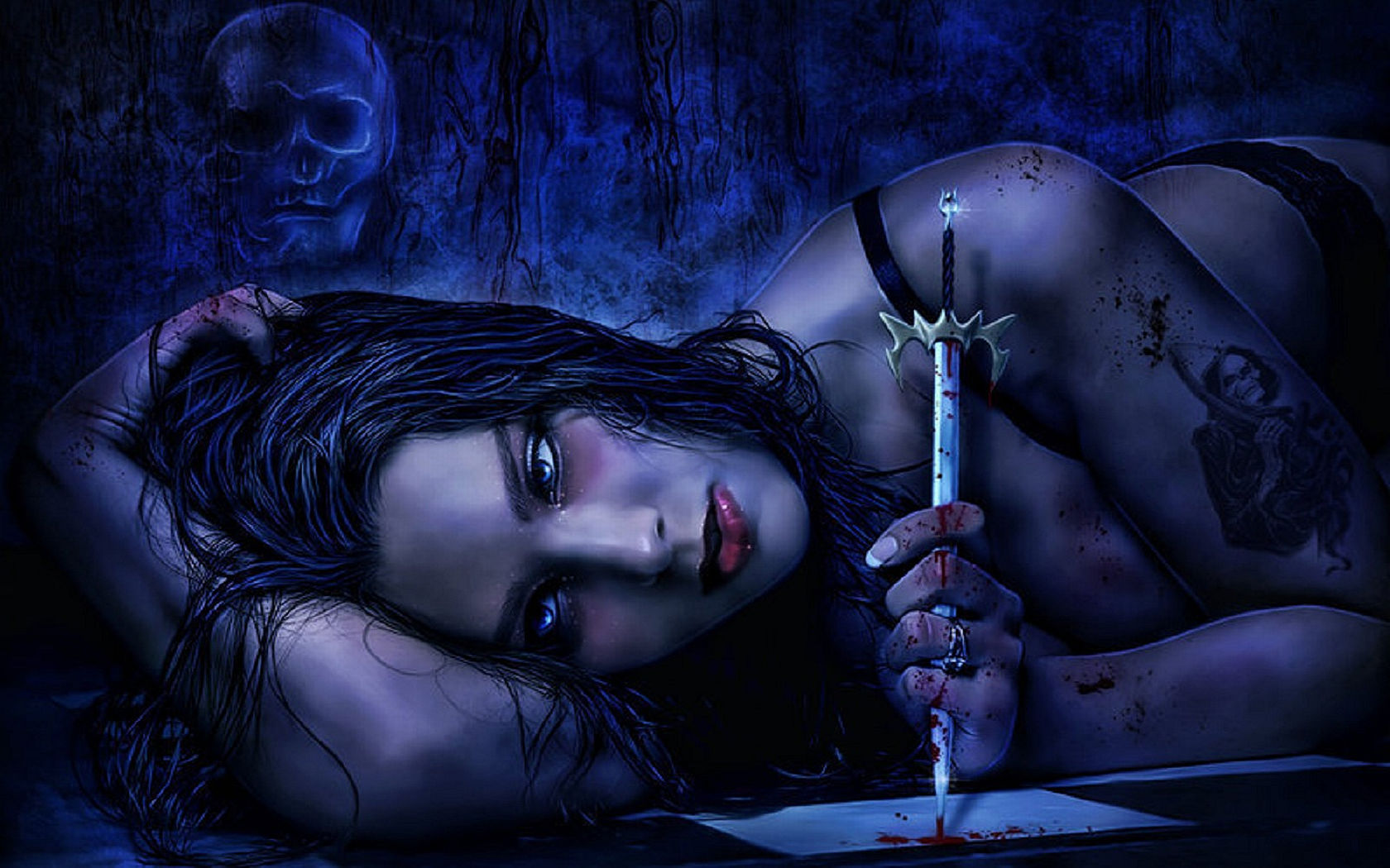Dark horror gothic fantasy women vampire mood weapons knife wallpaper 1680x1050