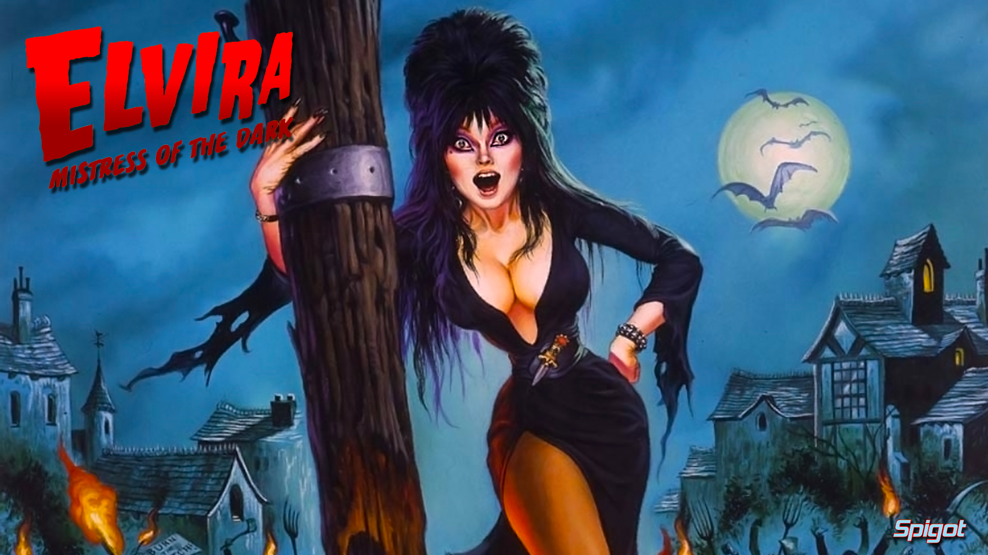 This wallpaper is from the comic based on the film Elvira Mistress 1920x1080