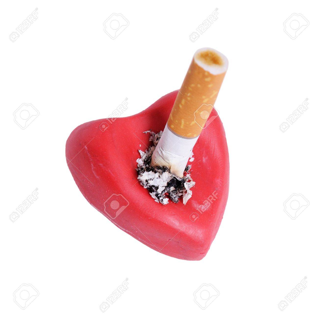 Cigaret Stub In Heart Isolated On A White Background Stock Photo 1289x1300