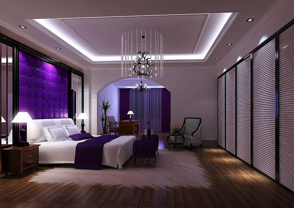 Purple luxury bedroom 3D house 3D house pictures and wallpaper 1022x724