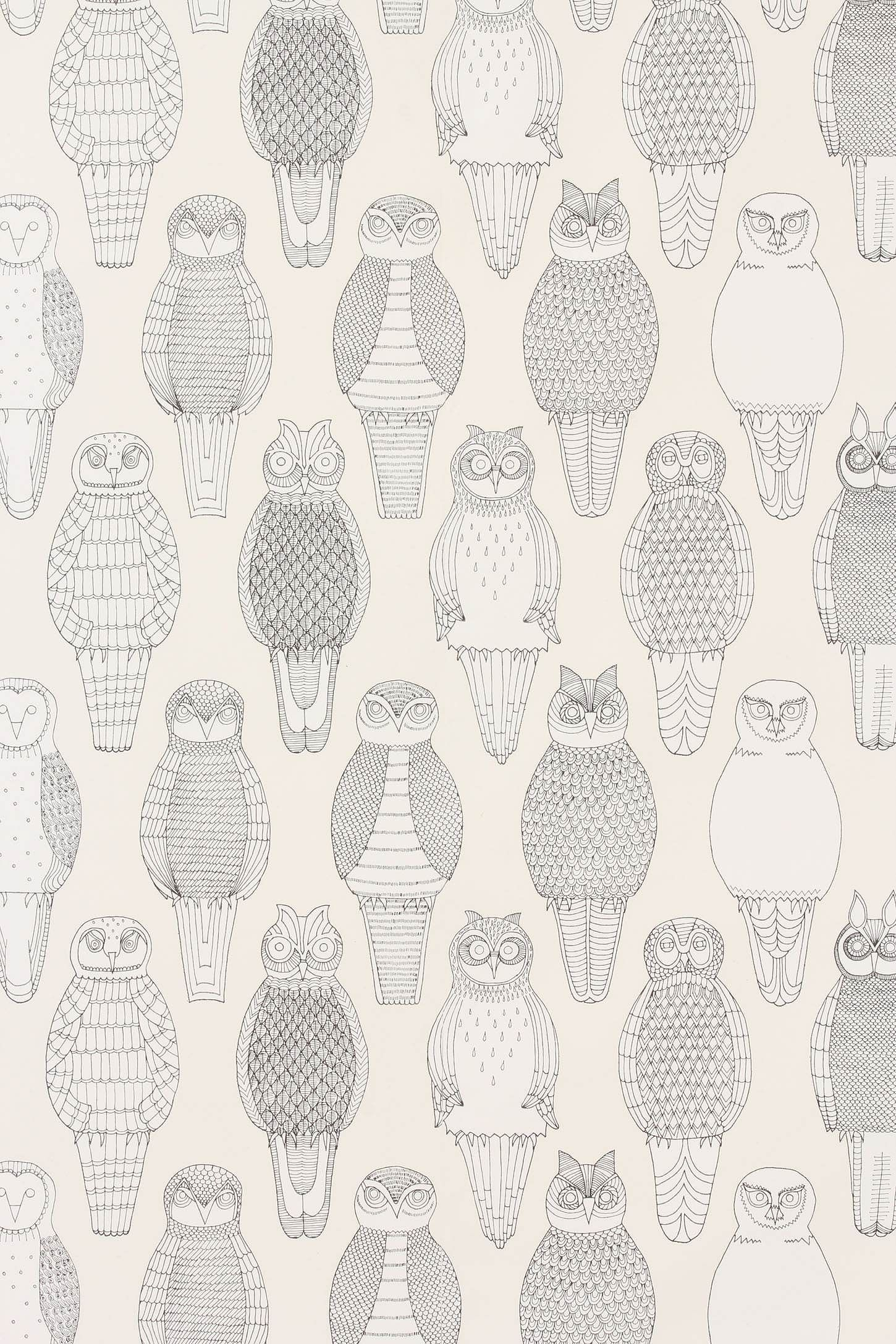 Owls of the British Isles wallpaper wall patterningdesign 1450x2175