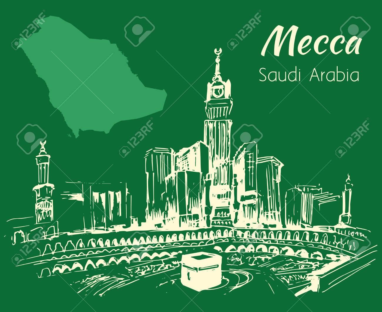 Masjid Al Haram Sketch Mecca Isolated On Green Background 1300x1063