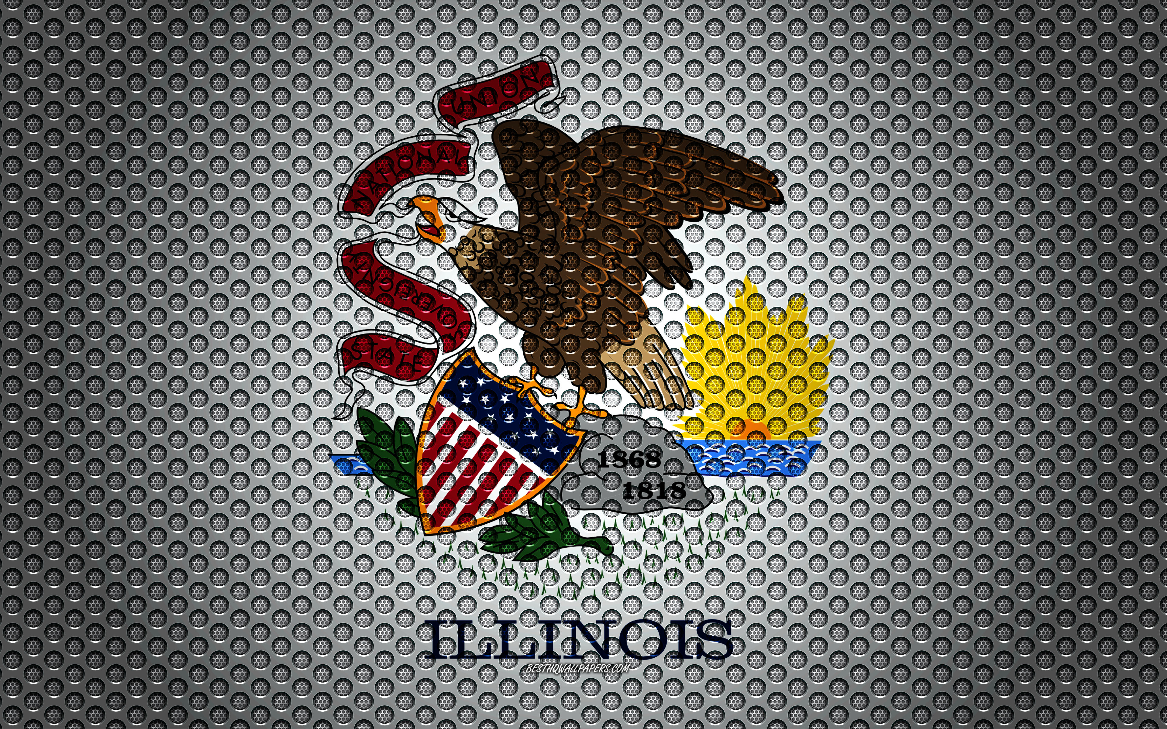 Download wallpapers Flag of Illinois 4k American state creative 3840x2400