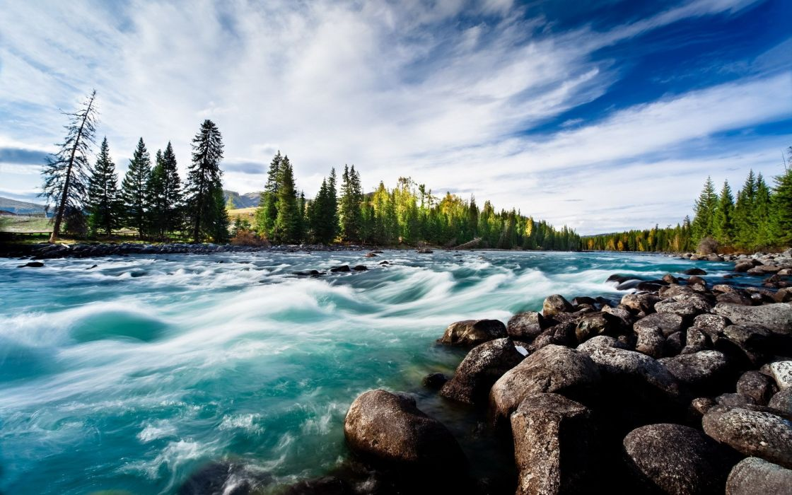 River clean water round stones blue sky fan of clouds trees pine 1120x700