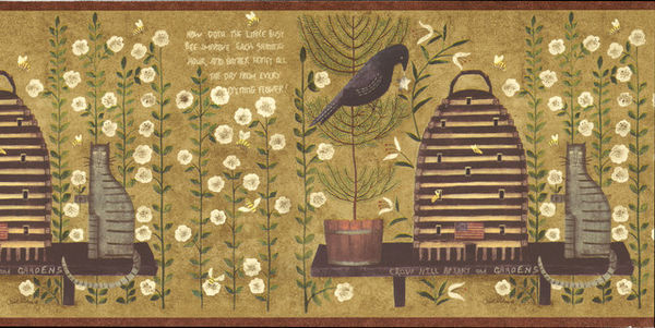 Country Folk Art Bird Cat Wallpaper Border 600x301