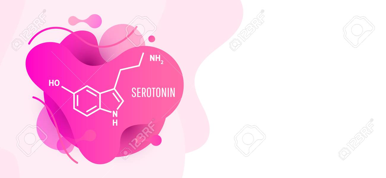 Serotonin Hormone Structural Chemical Formula On Wave Liquid 1300x600