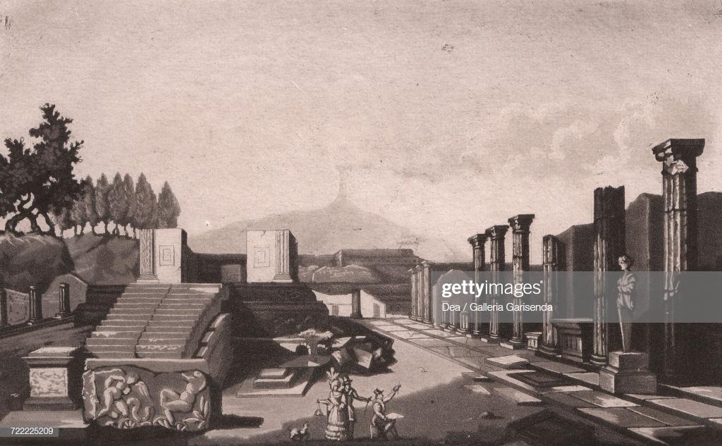 View Of Temple Of Apollo With Mount Vesuvius In Background Pompeii 1024x633