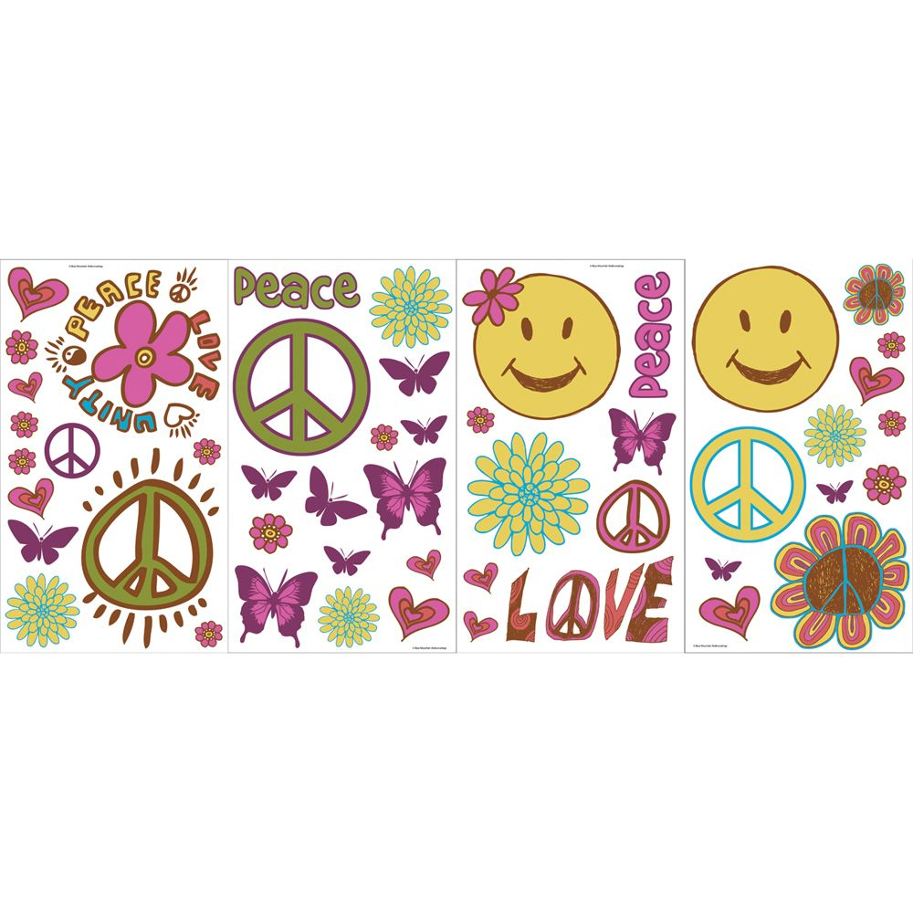 The Wallpaper Company Peace And Love Room Appliques The Home Depot 1000x1000