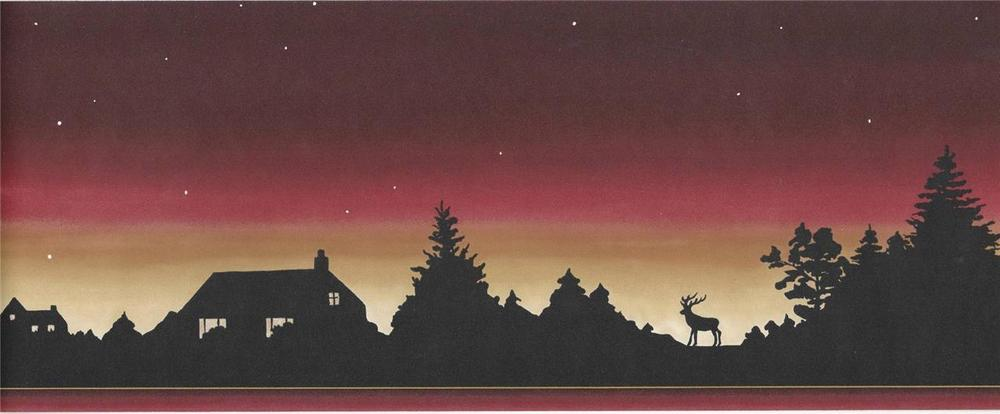 Wallpaper Border Lodge Log Cabin Moose Sunset Silhouette Stars at 1000x414