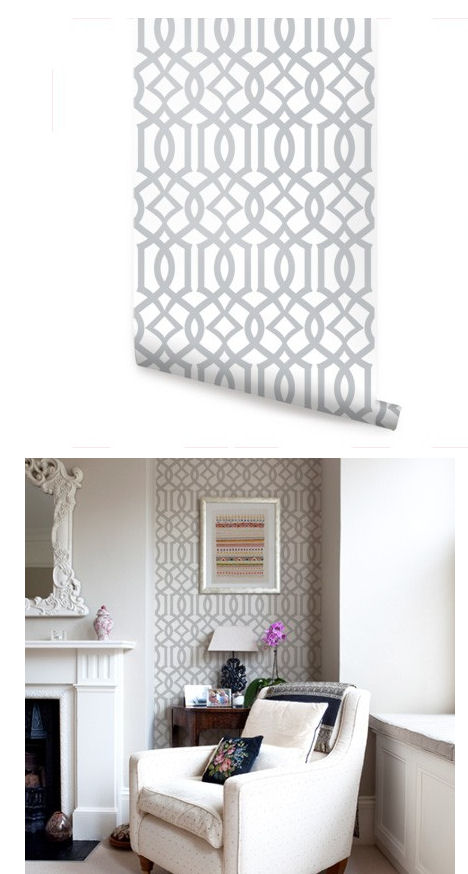 Modern Trellis Gray Peel and Stick Wallpaper   Wall Sticker Outlet 468x874