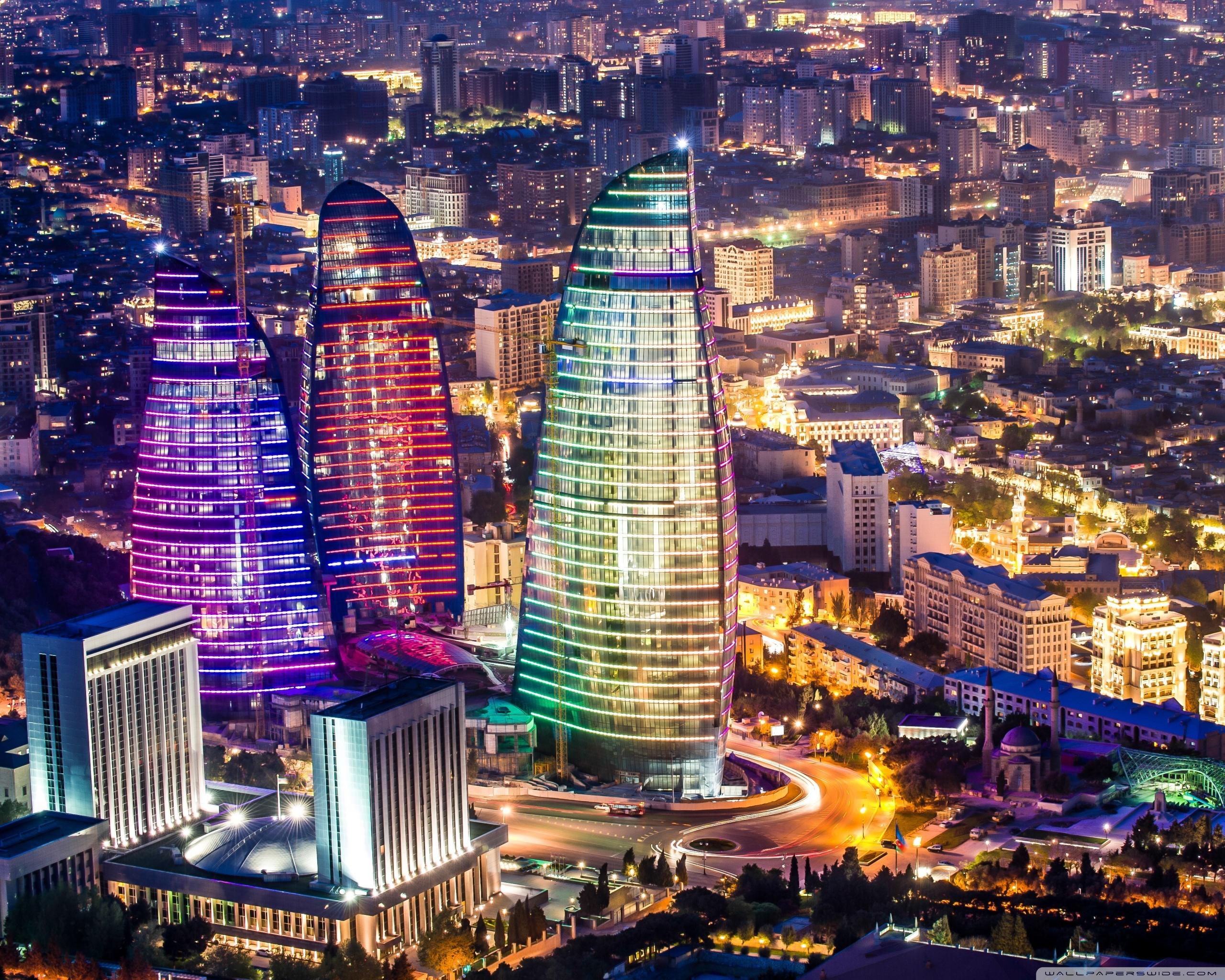 Flame Towers Baku Azerbaijan 4K HD Desktop Wallpaper for 2560x2048