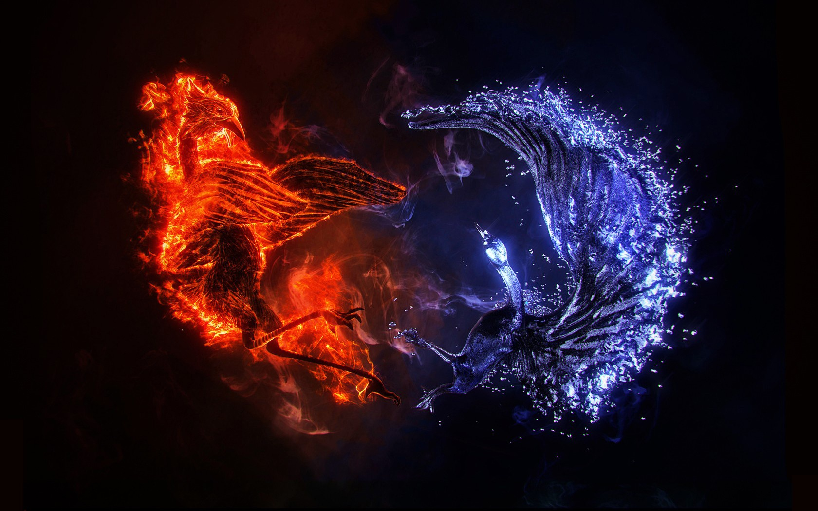 Fire and Ice 3d art birdie fire ice 1680x1050