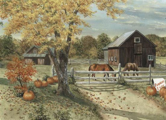 Country Seasons Mural Style Border 6 Inches   Scenic Wall Murals 551x400