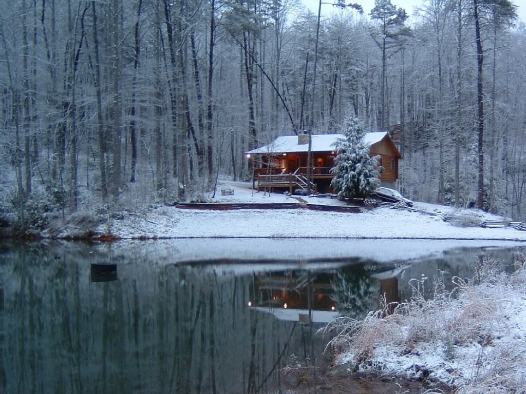 Blue Ridge Cabin Rental Mountain Log Cabin On Spring Fed Lake 1024x768