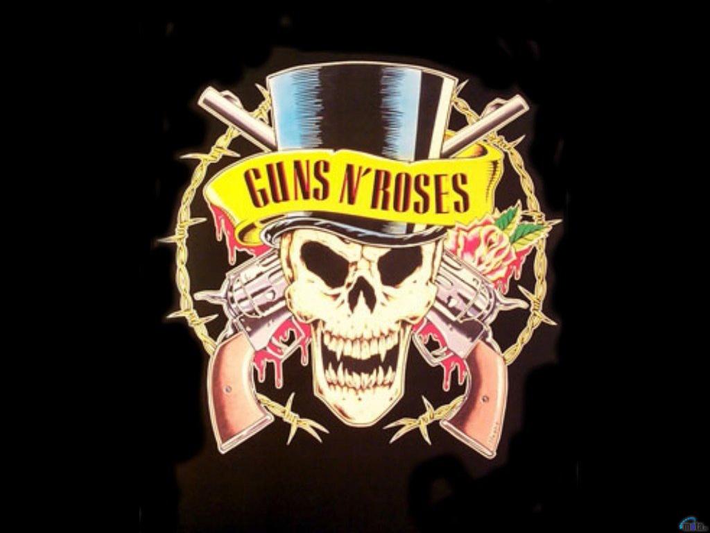 Wallpaper black gun skull Guns N Roses logo 1024x768