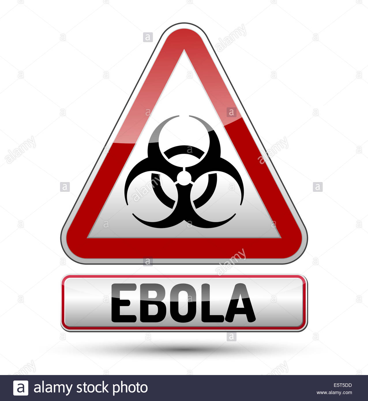Ebola Biohazard virus danger sign with reflect and shadow on white 1276x1390