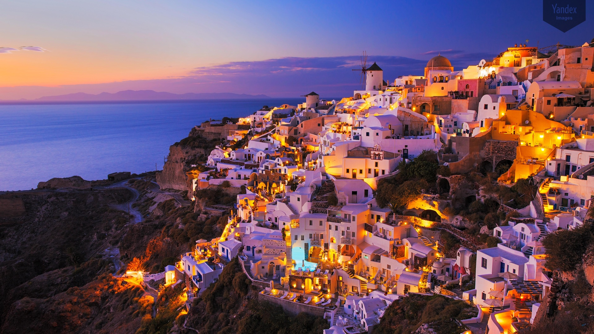 Santorini Greece View Panorama Sea Ships Desktop Background 1920x1080