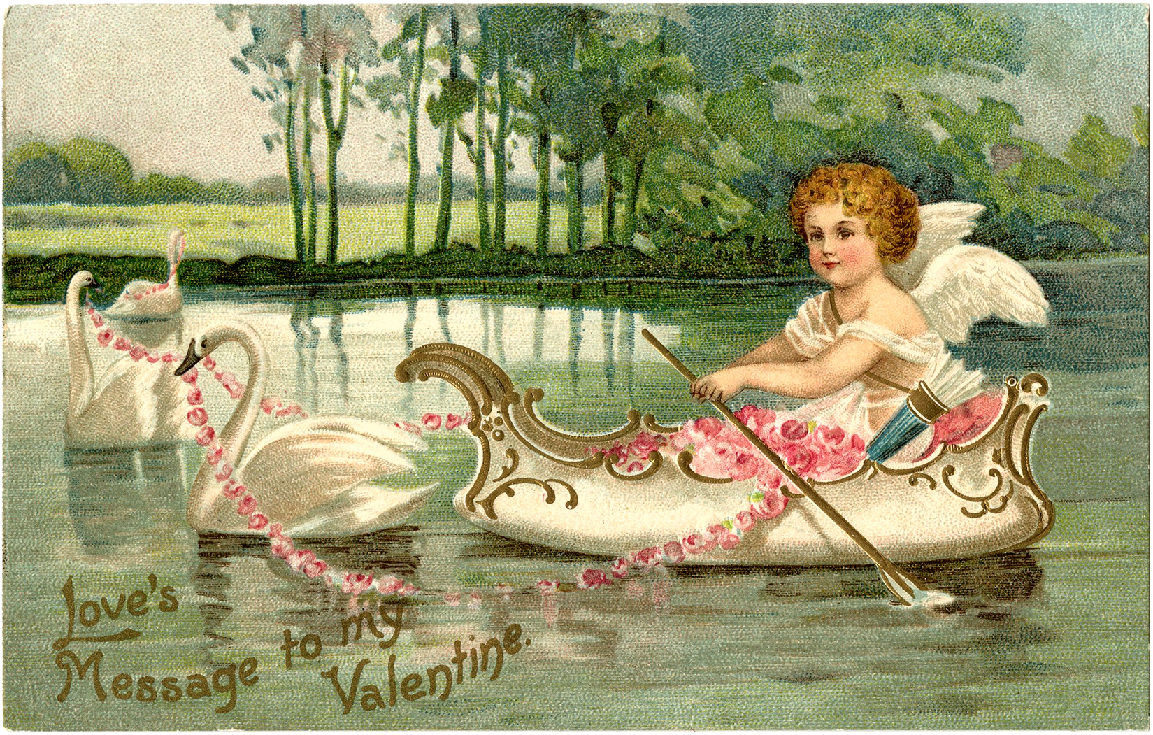 Valentine Cupid with Swans   The Graphics Fairy 1649x1051