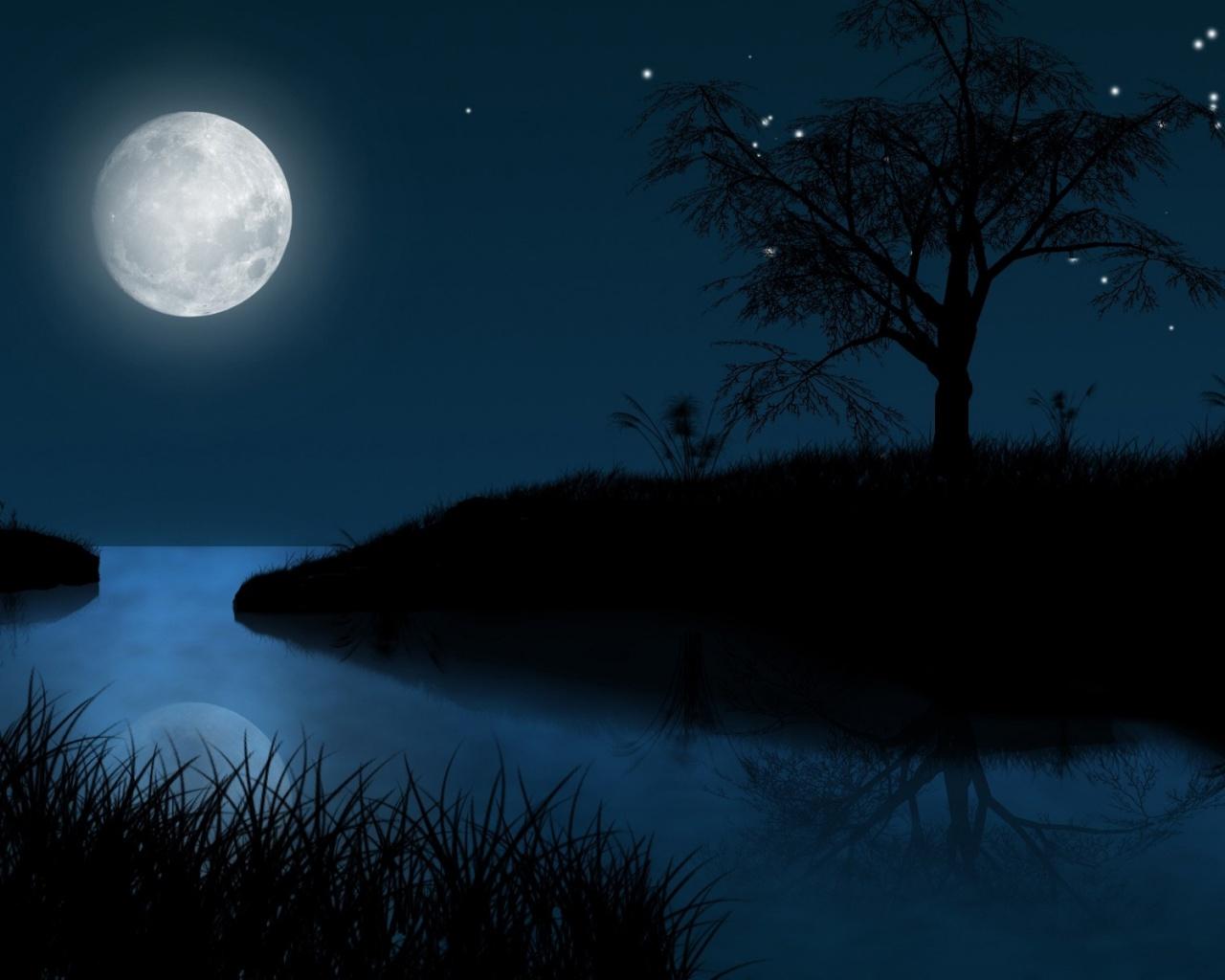 1280x1024 Black Grass Hill Tree Sea Moon desktop PC and Mac wallpaper 1280x1024