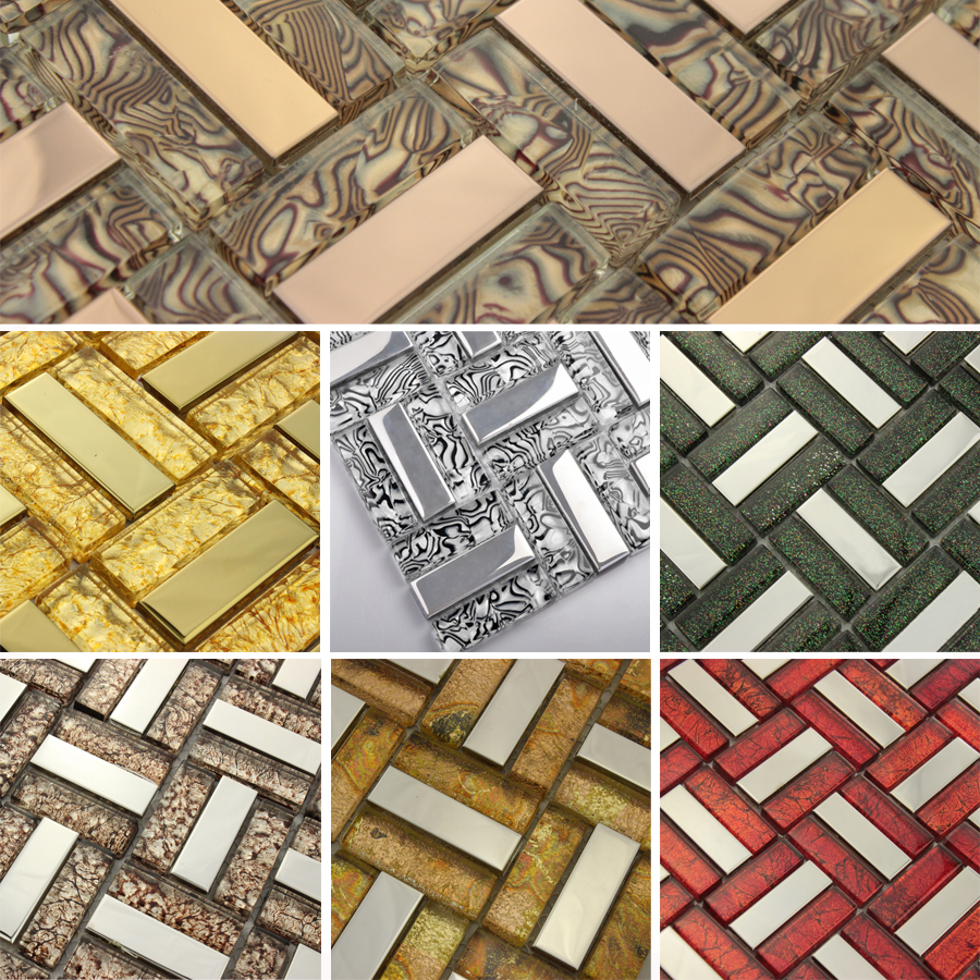 Glass Mosaic Stainless Steel Mirror Tile Wallpaper Floor Tiles Gold 900x900