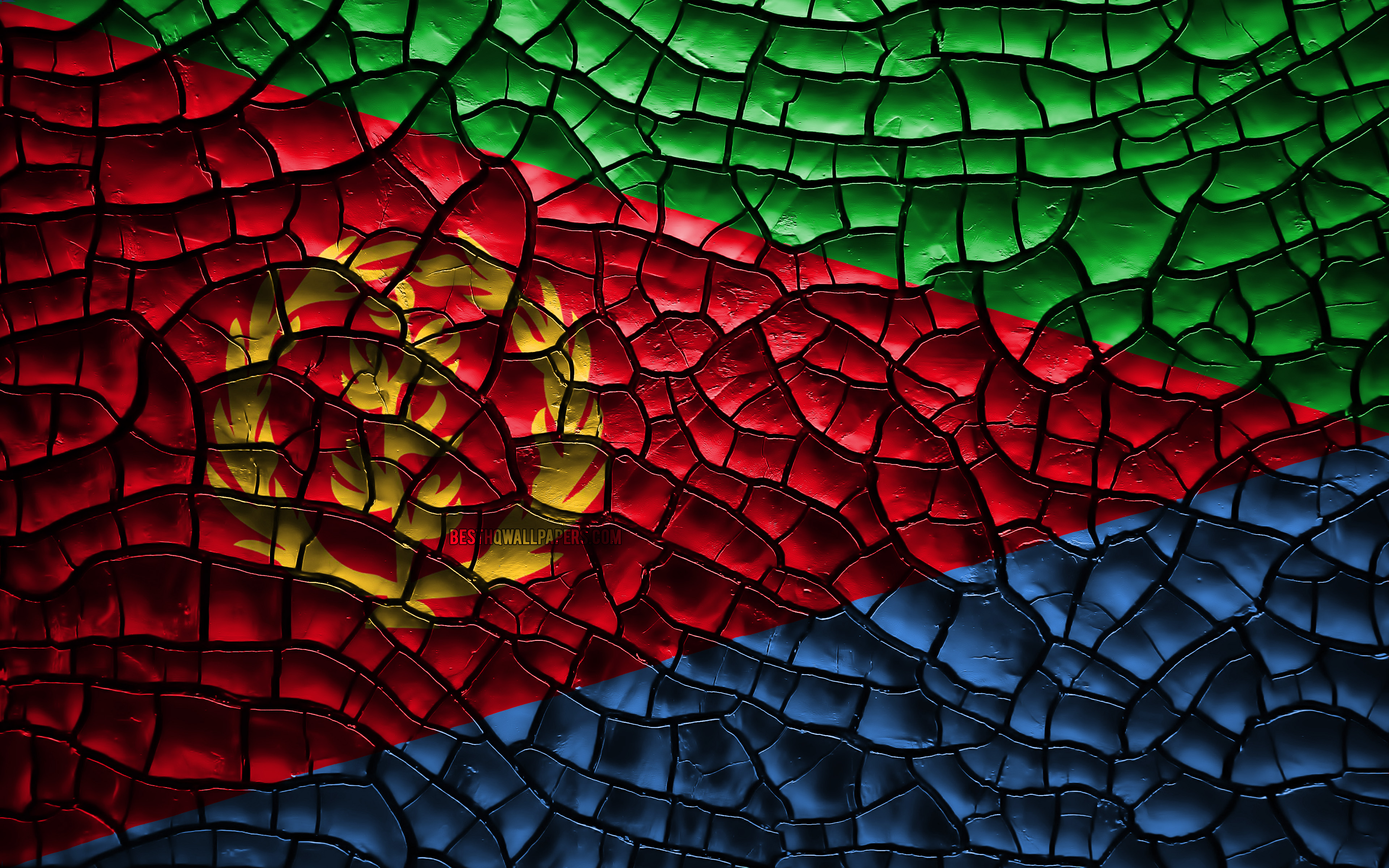 Download wallpapers Flag of Eritrea 4k cracked soil Africa 3840x2400