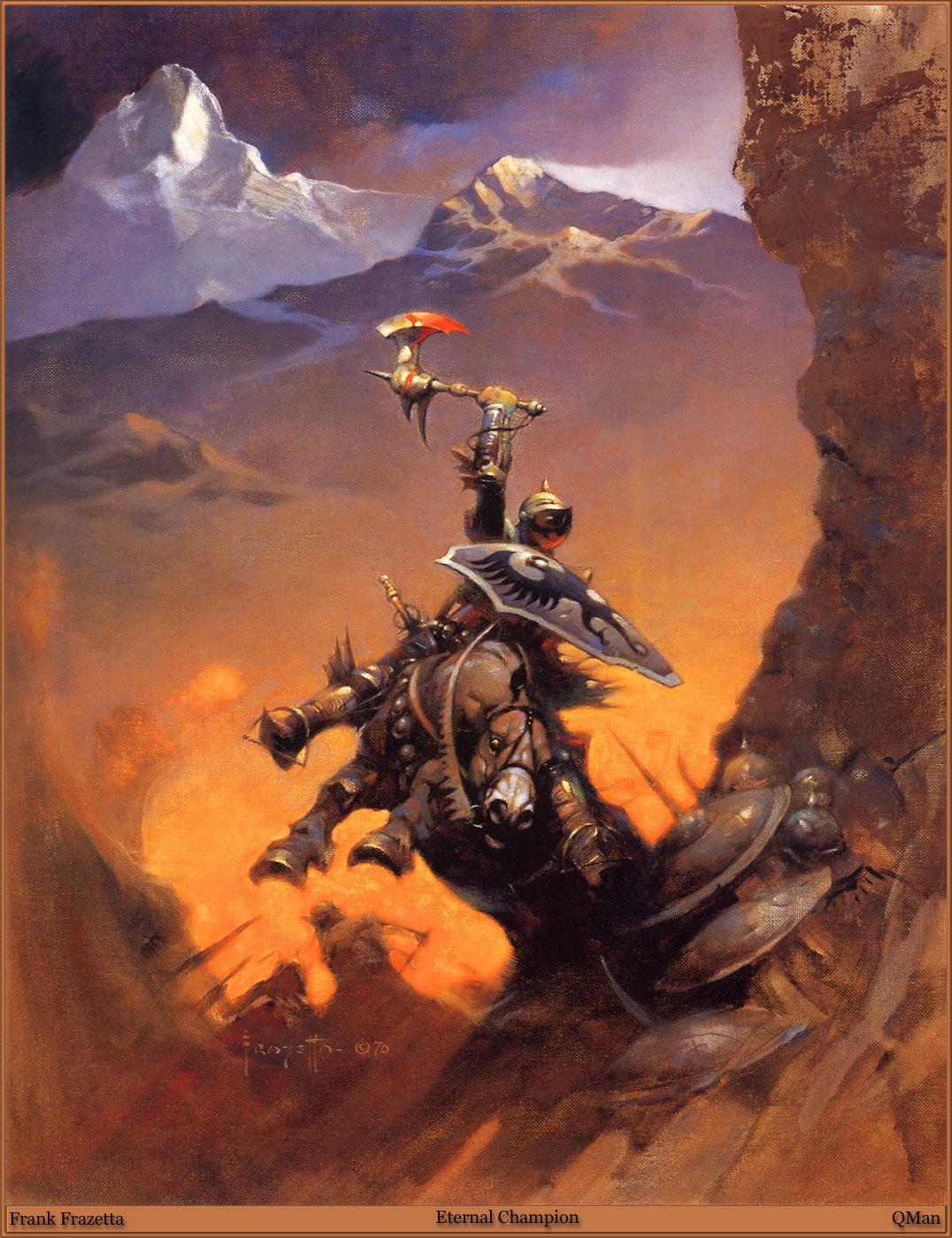 Photos horse Shield Frank Frazetta Battle axes warrior Fantasy 1076x1400