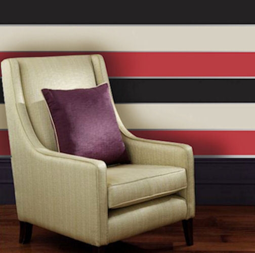 Red   Cream   Black   Striped Wallpaper   Olivia   Big Stripe Wall 504x500