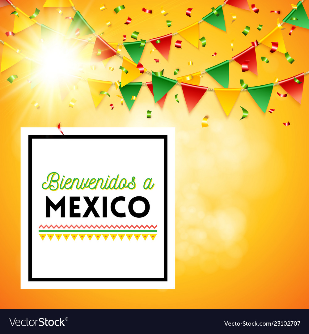 Welcome to mexico poster with sunny background Vector Image 1000x1080