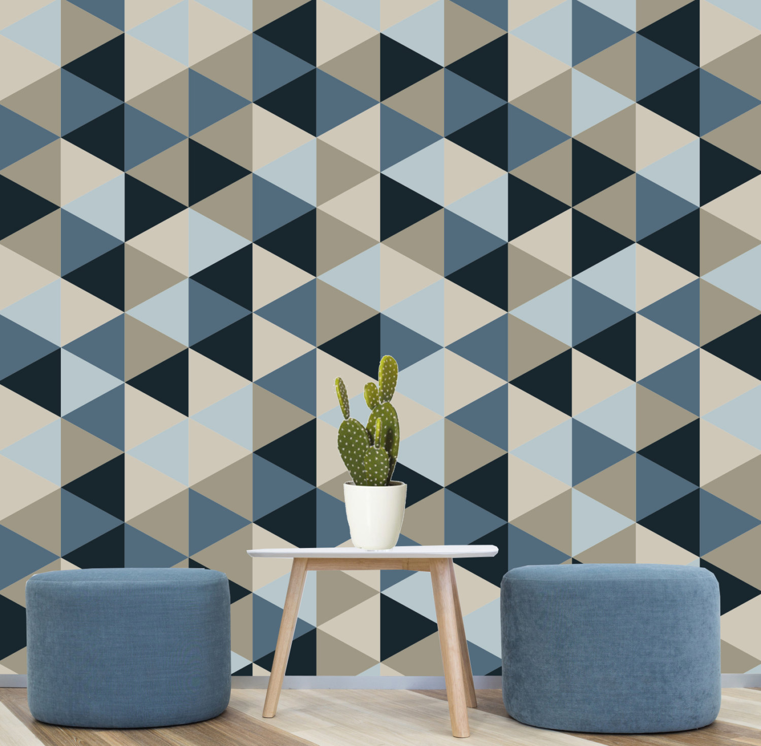 Geometric Removable Wallpaper Blue Navy Creams Self by Nicematches 1500x1470