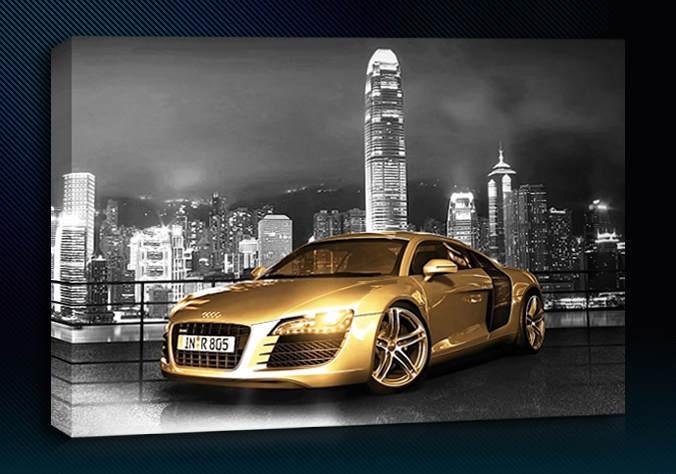Audi R8 Gold City Background Colour Grey Size 12 X 24 3 Panel 676x474