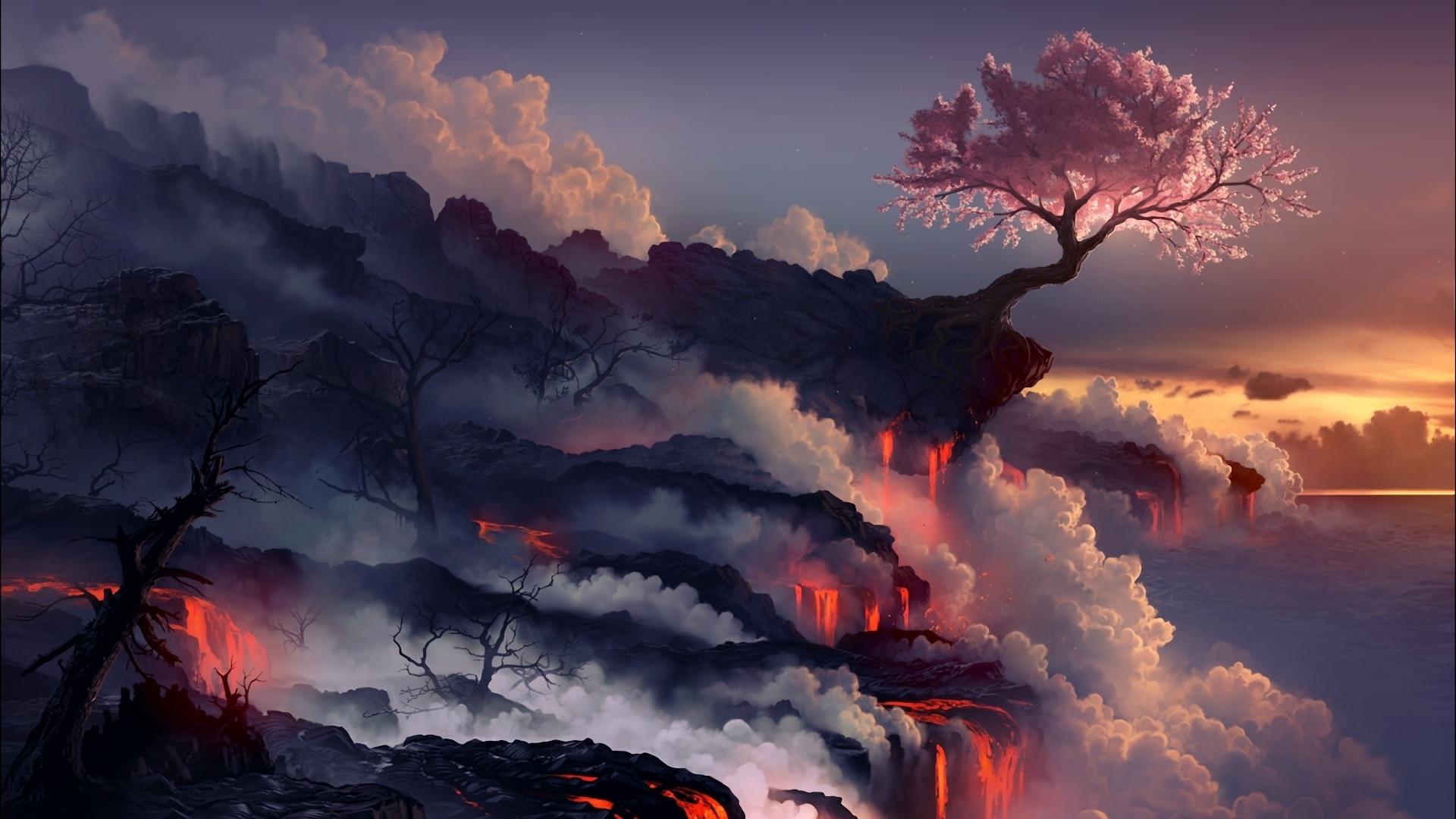Download wallpaper 1920x1080 eruption lava volcano oriental 1920x1080