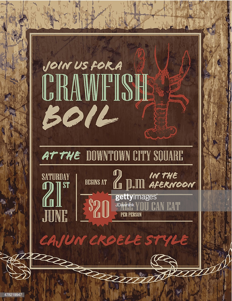 Crawfish Boil Invitation Design Template On Rustic Wooden 791x1024