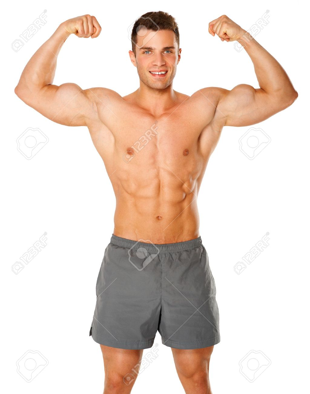 Fit And Muscular Man Flexing His Biceps On White Background Stock 1024x1300