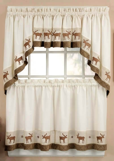 Moose Window Curtain Log Cabin Lodge 36 Tiers Swag 402x566