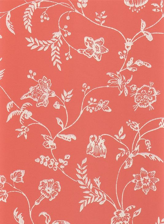 Uppark Wallpaper White climbing floral wallpaper on coral red 534x728