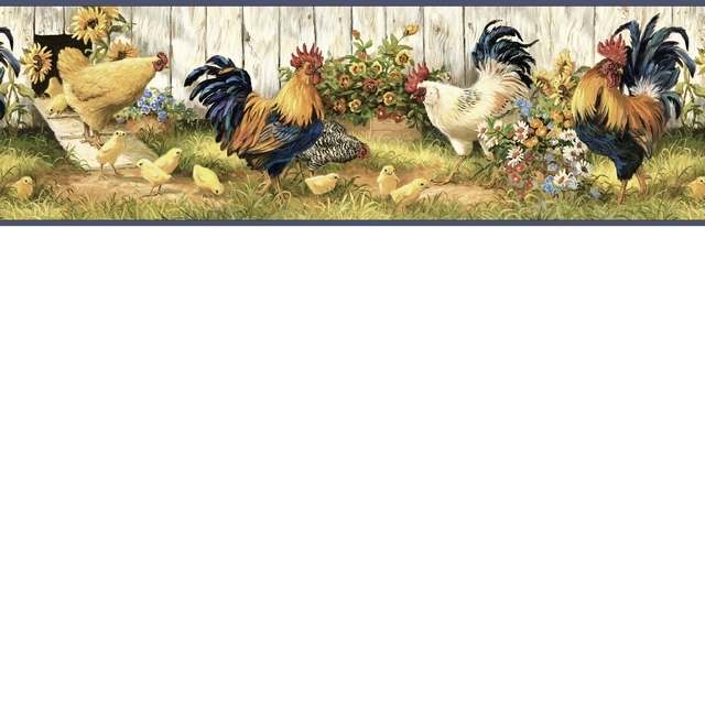 Rooster Sunflowers Wallpaper Border FAM24512B Chick 640x640