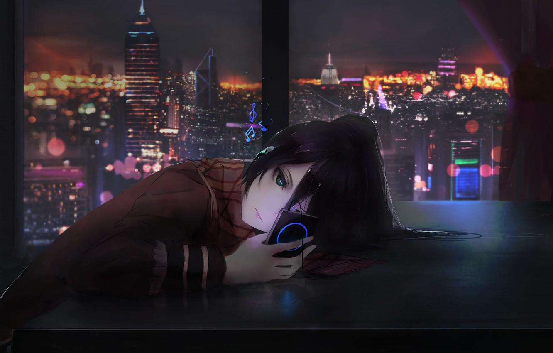 Wallpaper Girl City Art Music Night Room Window Shigure 1332x850