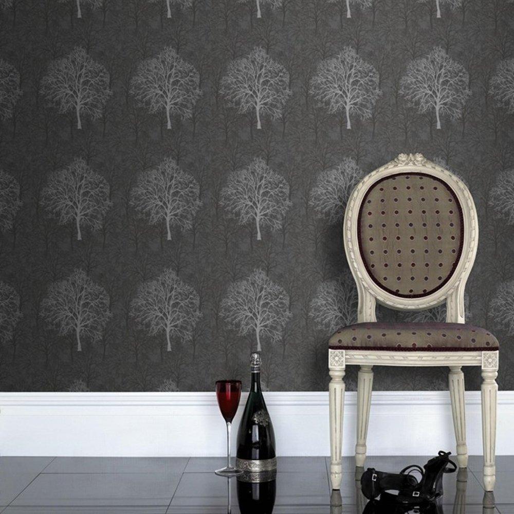 Black and silver tree wallpaper wallpapersafari for Black home wallpaper